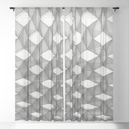 Trapez 5/5 grey pencil sketch by Brian Vegas Sheer Curtain
