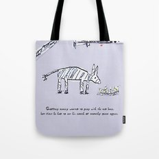 Geoffrey the Zebra-Donkey Cross Tucking into his Lunchtime Snack Tote Bag