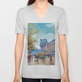 Along the Louvre, Paris, France by Antone Blanchard Unisex V-Neck