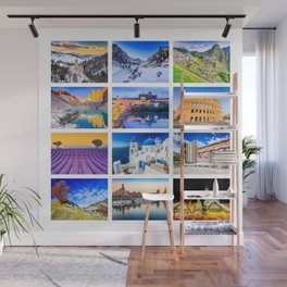 World travel collage Wall Mural