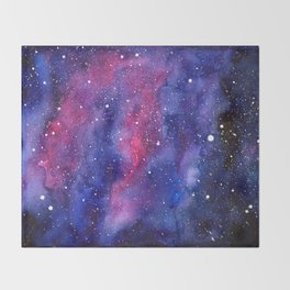 Nebula Galaxy Watercolor Space Sky Throw Blanket