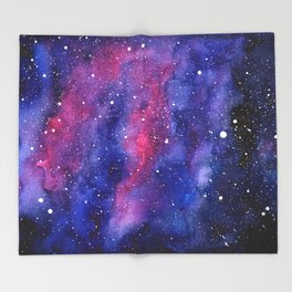 Nebula Galaxy Watercolor Space Sky Throw Blanket