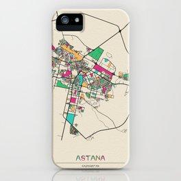 Colorful City Maps: Astana, Kazakhstan iPhone Case