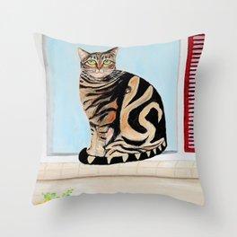 Cat sitting on window sill Throw Pillow