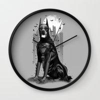 doberman Wall Clocks featuring DOBERMAN by ADAMLAWLESS