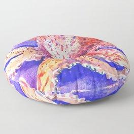 Octopus, red blue beach design artwork Floor Pillow