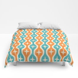 Mid century Modern Bulbous Star Pattern Orange and Turquoise Comforters