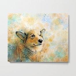 Dog 143 Corgi Metal Print
