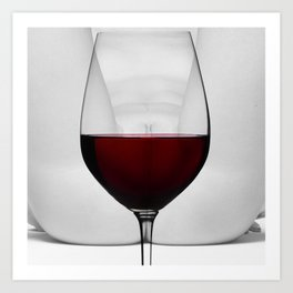 Red wine and naked woman Art Print