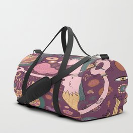 The Bird Lady Cometh, plum mauve version Duffle Bag