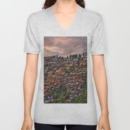 Approaching Storm Shimla, India Hillside Village Landscape by Jeanpaul Ferro Unisex V-Neck