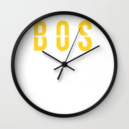 BOS - Boston Airport Massachusetts - Airport Code Souvenir or Gift Design Wall Clock