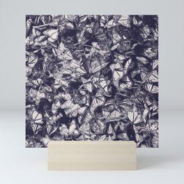 Indigo butterfly photograph duo tone blue and cream Mini Art Print
