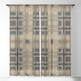 Black Gold Geometry Sheer Curtain