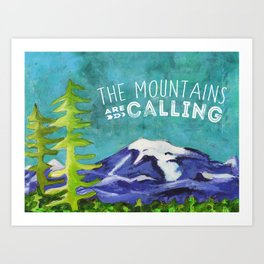 The Mountains Are Calling Rocky Mountain Winter Landscape Art Print