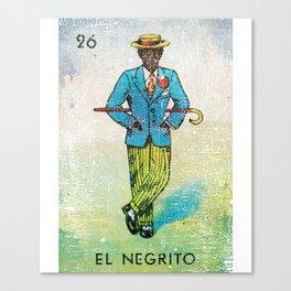 El Negrito Mexican Loteria Bingo Card Canvas Print