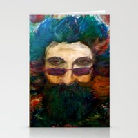 grateful dead Stationery Cards featuring Jerry Garcia Watercolor Portrait Grateful Dead by Acorn