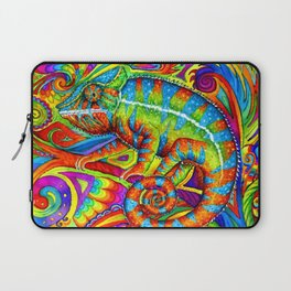 Psychedelizard Colorful Psychedelic Chameleon Rainbow Lizard Laptop Sleeve