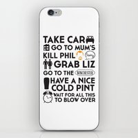 shaun of the dead iPhone & iPod Skins featuring SHAUN OF THE DEAD THE PLAN by thischarmingfan