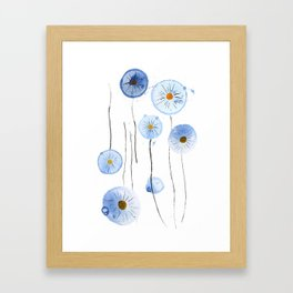 blue abstract dandelion 2 Framed Art Print