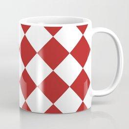 Large Diamonds - White and Firebrick Red Coffee Mug