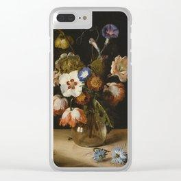 Dirck De Bray - Flowers In A Glass Vase Clear iPhone Case