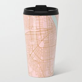 Pink and gold Phnom Penh map, Cambodia Travel Mug