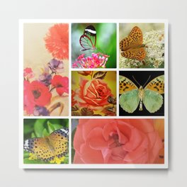 PINK ROSES AND BUTTERFLIES Metal Print