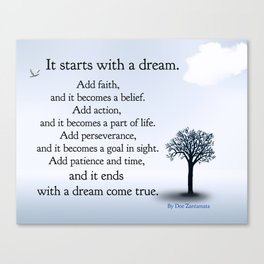 It Starts with a Dream Canvas Print