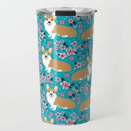 Welsh Corgi cherry blossoms dog portrait custom dog art spring floral dog pattern pet friendly Travel Mug