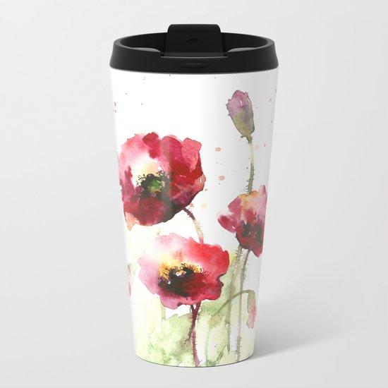 Watercolor flowers of poppy Metal Travel Mug