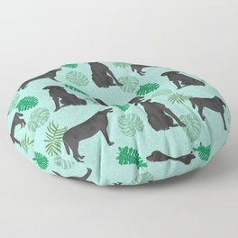 Black Lab summer monstera tropical pure breed dog gifts Floor Pillow