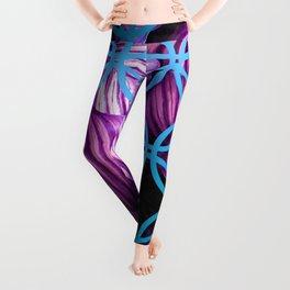 Purple Leaves Blue Geometric Leggings