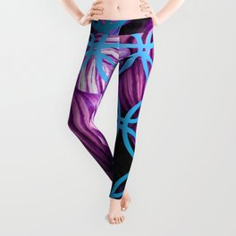 Purple Leaves Blue Geometric Leggings