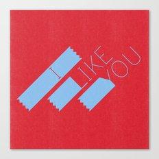 I Like You Graphik: Blue Type Canvas Print