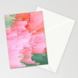 Romance Glitch - Pink & Living coral Stationery Cards