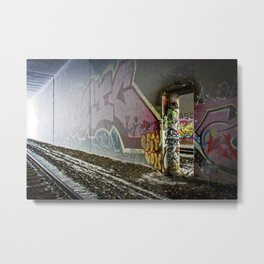 A train runs thru it Metal Print