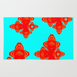 Retro Red Decorative Shapes on Turq Background Rug