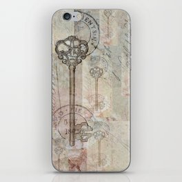 Antique French Key and Postmark iPhone Skin