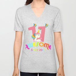 Awesome Since 2007 Unicorn 11th Birthdays Anniversaries Unisex V-Neck