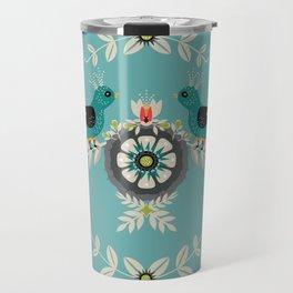 Scandi Bird Floral Turquoise Travel Mug