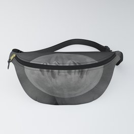 Full Moon inside Daylily Black and White Fanny Pack