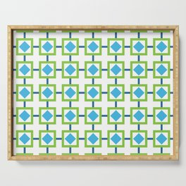 BOXED IN, GREEN AND BLUE Serving Tray