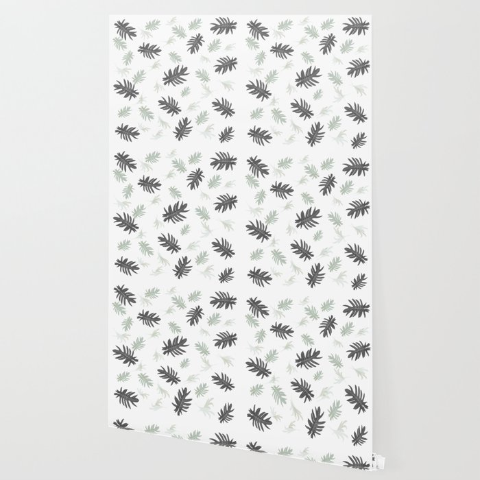 Palms Pattern Leaves Black And White Autumn Fall Tropical Society6 Wallpaper