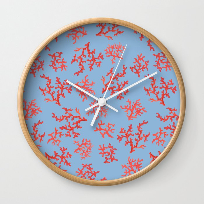 Underwater Coral Pattern Wall Clock By