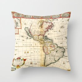 Map of North & South America by Thomas Bassett (1626) Throw Pillow
