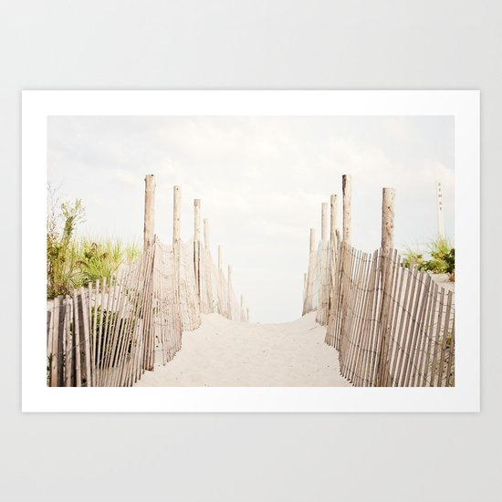Beach Photography, Coastal Dunes Art, Neutral Seashore Photo, Beach Fence, Seaside Coast Picture by carolyncochrane