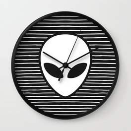 Alien on Black and White stripes Wall Clock