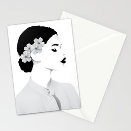 a lady (white shirt ) Stationery Cards