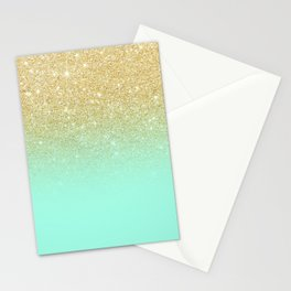 Modern gold ombre mint green block Stationery Cards